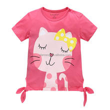 Short sleeve pink printed cat baby girls fancy t shirt