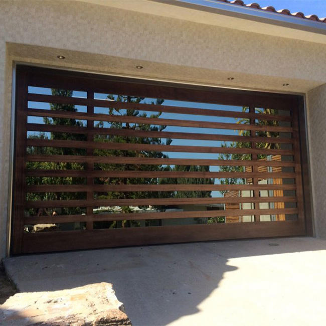 Modern automatic wood door frame plexiglass panel garage door
