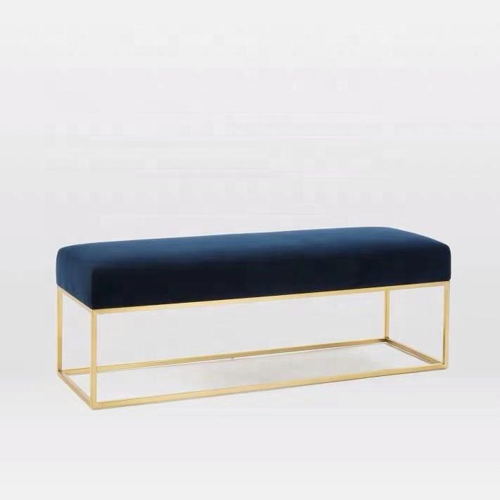 Velvet Sofa Bench Ottoman Bench, Velvet Bed End Stool Bench Bed Bench, Velvet Ottoman Bench Chair Factory