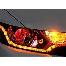 Dual Color LED Strip Headlight Daytime Running Light Amber Flowing Turn Signal
