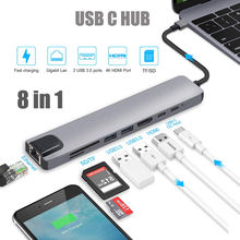 Multifunctional 8 in 1 type C HDMI USB3.0 hub & converter & charger for Macbook