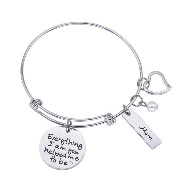 Loftily Jewelry Gifts Everything i am you helped me to be Engraved Bar Fashion Accessories Adjustable Bracelet for Mother's Day