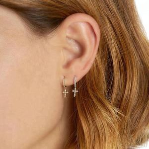 14k vermeil gold plated hoop jewelry cubic zirconia drop cross earrings
