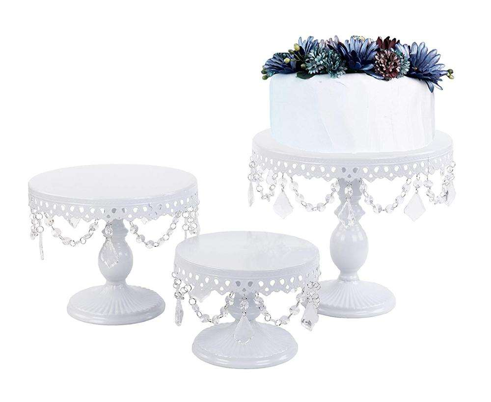 Multipurpose Europese stijl kristal kralen party decoratieve thuis metalen set crystal wedding cake stand
