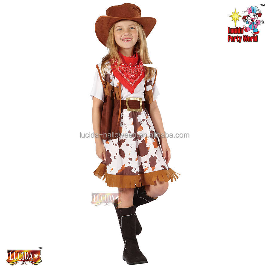 Lucida china factory fancy cow girl carnival costume 98536-M