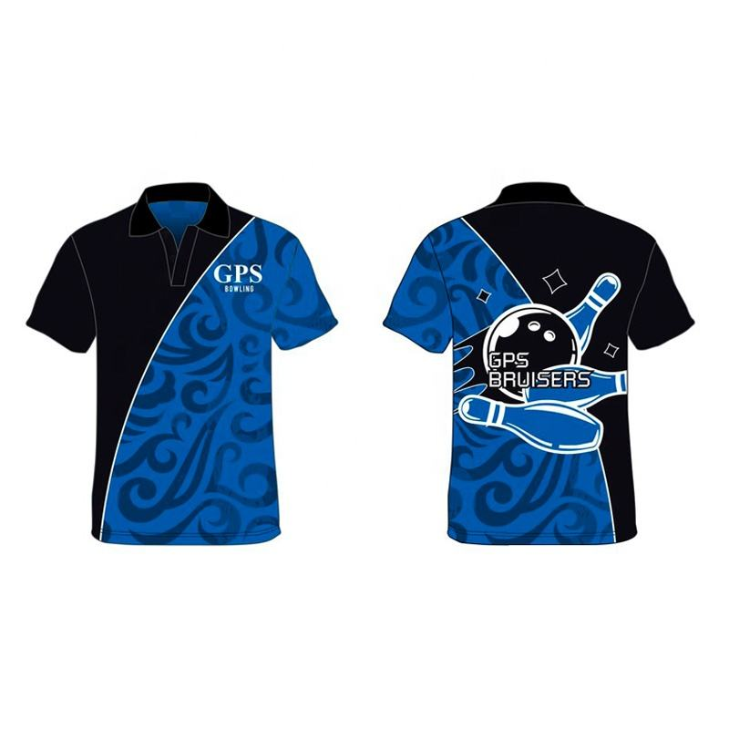 High quality new design 100% polyester fabric dye sublimation bowling polo shirt