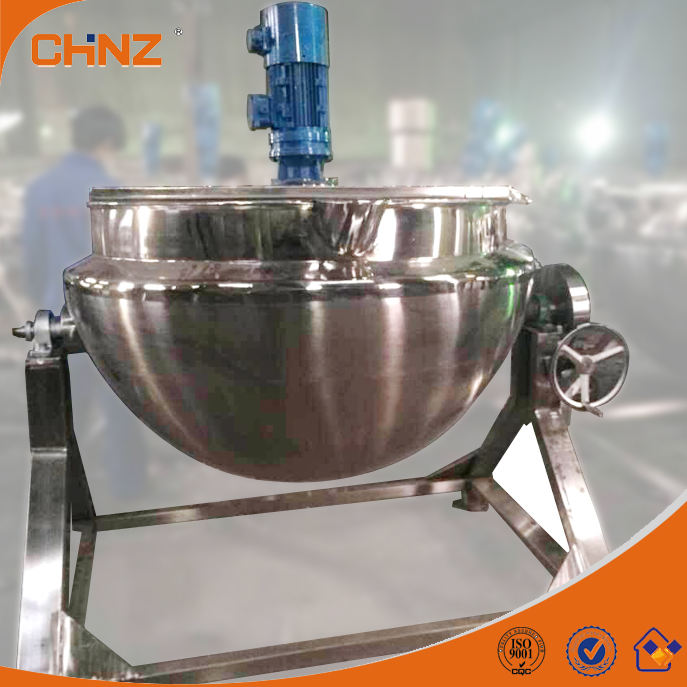 Tilting type steam / electric jacket kettle with agitator Mixer Cooker Pot Boiler