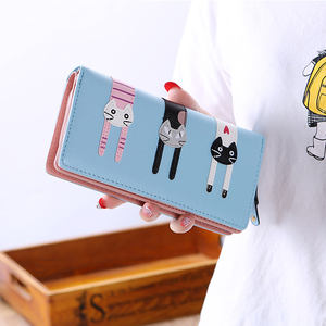 Fashion Envelope Women Wallet Cat Cartoon Wallet Long Female Lady Card Holder PU Wallet Coin Purses Girls