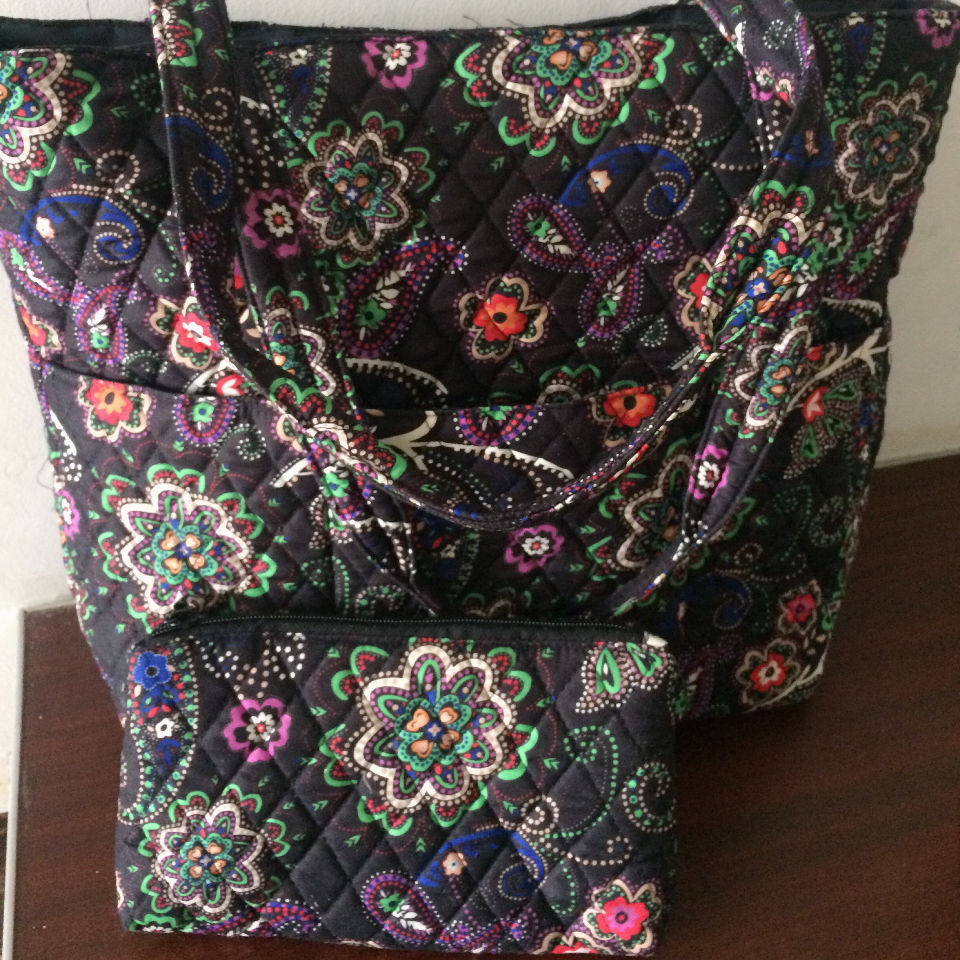 Customized pattern 2-pc Quilted tote bag with wallet