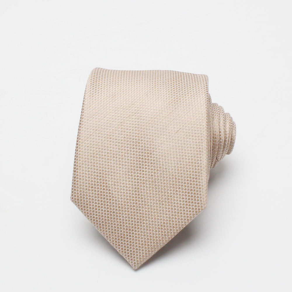 Dacheng China Manufacturer New Design Popular Classical Mens Cream-coloured Silk Ties Slim Necktie
