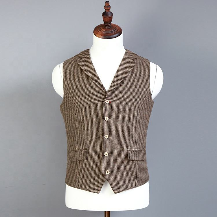 Man casual vest with collar woolen fabric single breasted 5 buttons nocth lapel vest waistcoat