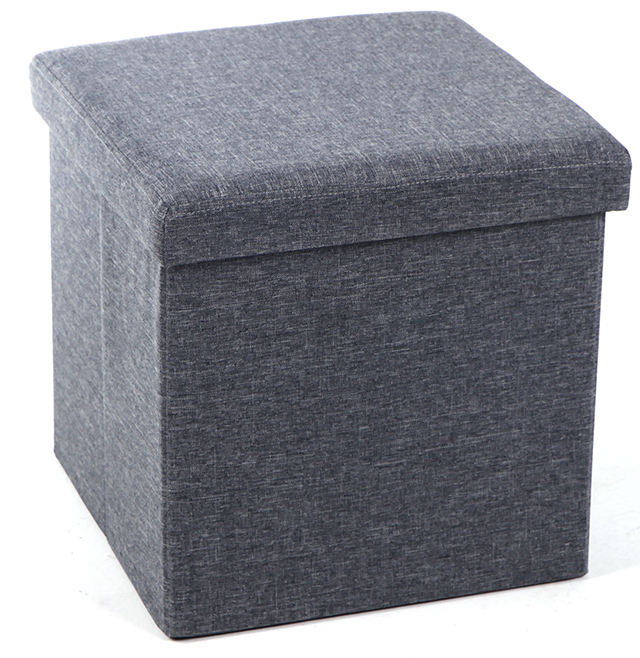 linen fabric covered storage ottoman