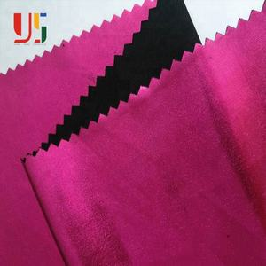 Rose pink plain dyed weft knitted jersey polyester stretch spandex foil backed fabric for women party dress