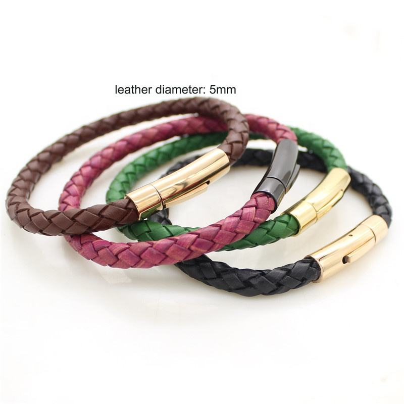 hot sale Stainless Steel Press Clasp Leather Bracelet Women