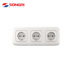 Songri Factory Supply 16A 250V Triple Germany Wall Power Socket