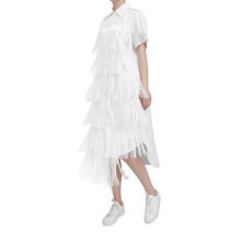 Fashion dresses women 2019 New korean fashion summer  tassel white dress plus size shirt skirt casual dresses wholesale
