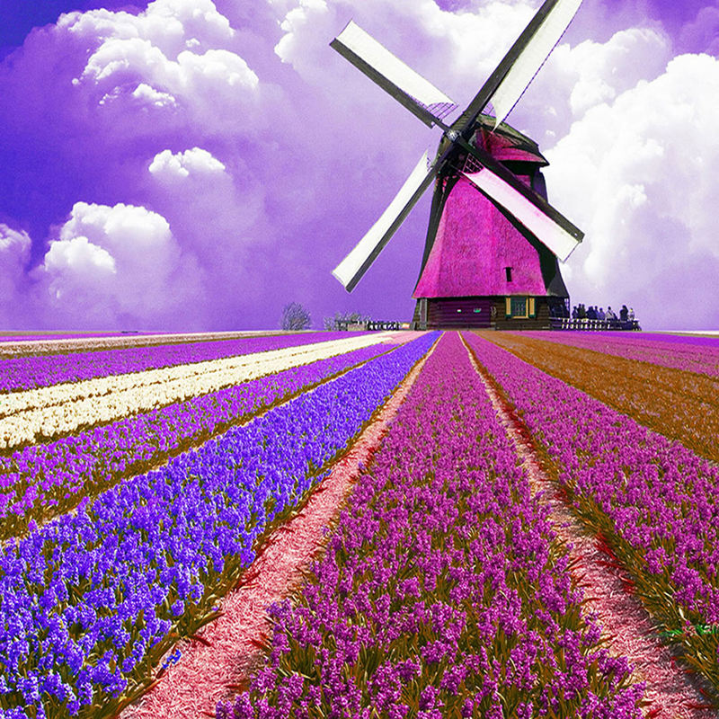 5d Diy Ferris Wheel Diamond Painting Cross Stitch Full Square Round Windmill Picture Of Rhinestone Mosaic Decor Home