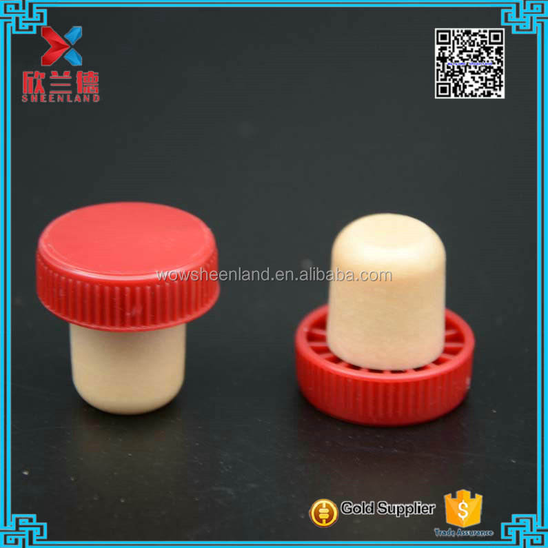 18mm custom red cork wine bottle stoppers with plastic cap