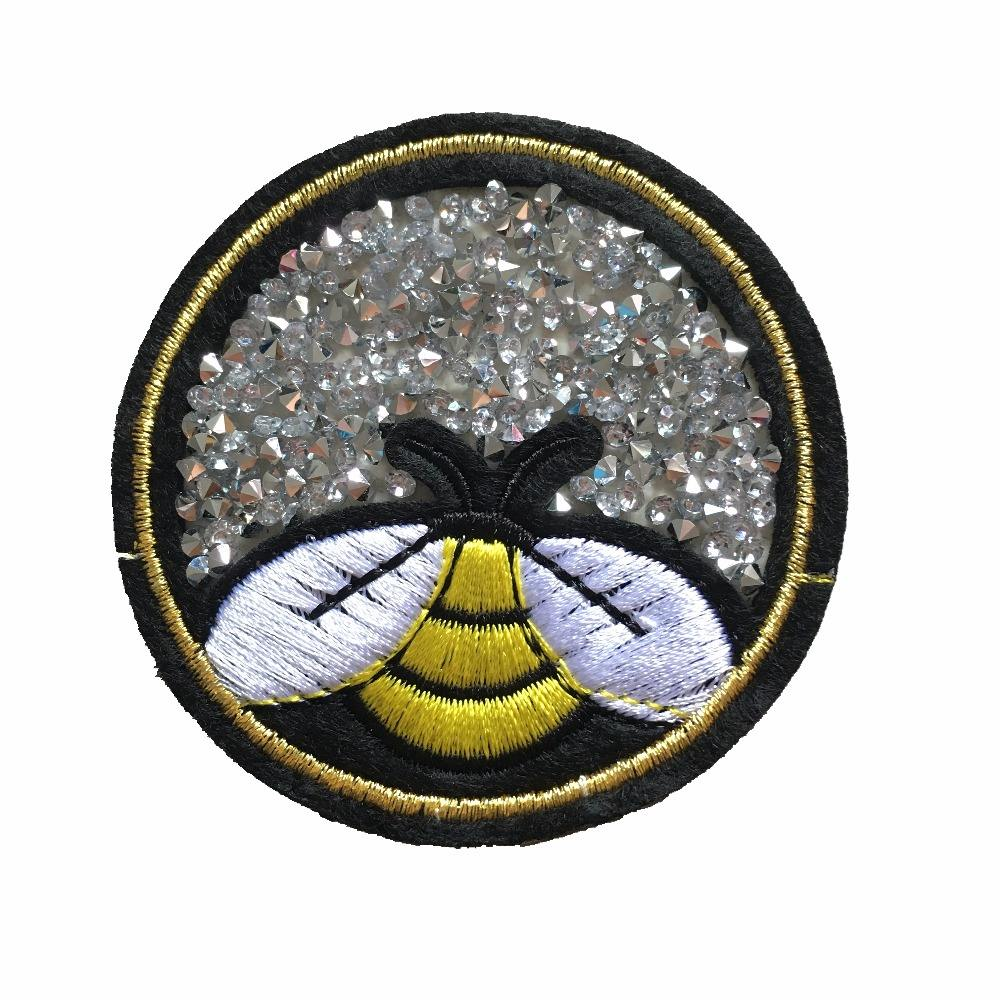 3D iron on Bee Rhinestones embroidered Patches Clothes Stickers Handmade Accessories Round Beading Appliques