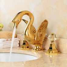 Fapully Shopping Online New Best Selling Items 3 Hole Bathroom Sink Faucets Brass Gold Plated Swan Faucets