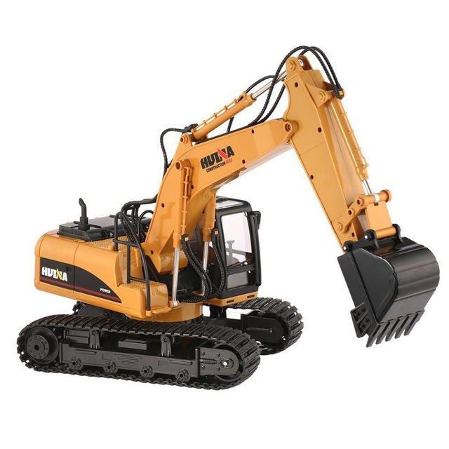 Hot Sale HuiNa Toys 1350 15 Channel 2.4G 1/14 RC Metal Excavator Truck Construction Engineering Vehicle Tank Models