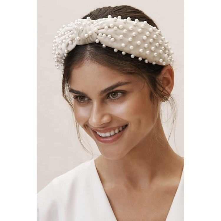 Women Girls Fashion Hair Head Band Accessaries Wide Padded Velvet Twisted Cross Knot Velvet Faux Pearl Headband with Rhinestones