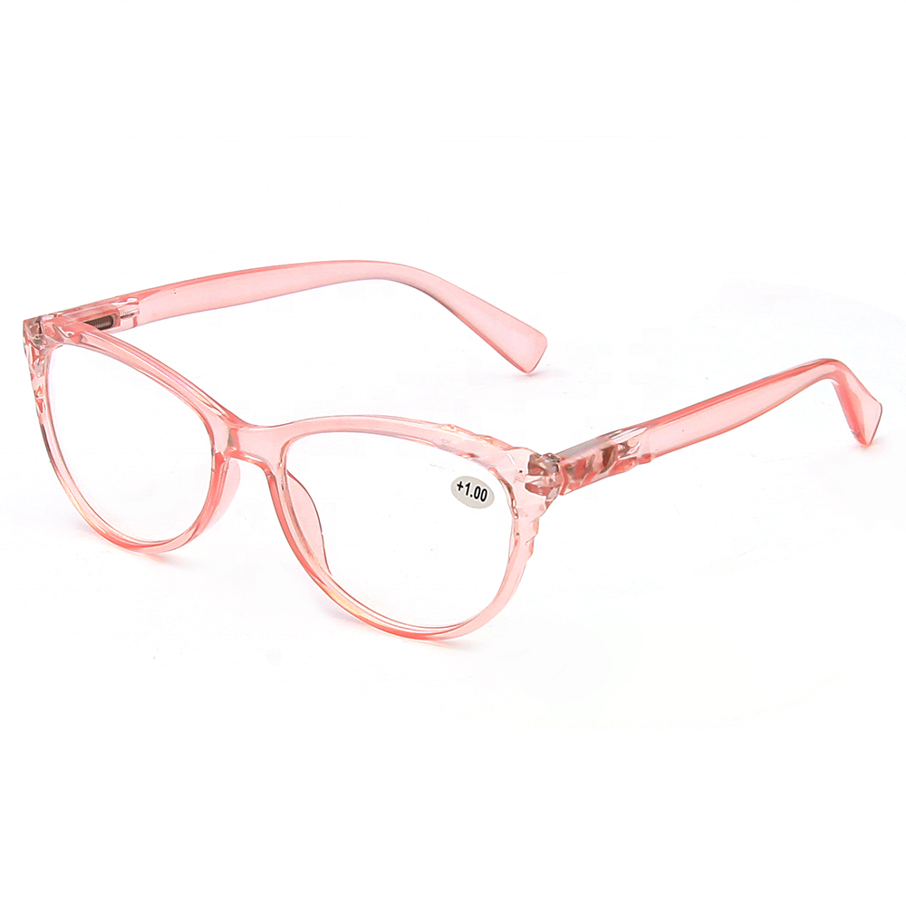Japanese Design Stylish Women Plastic PC Frame Shiny Crystal Pink Reading Glasses 1.75