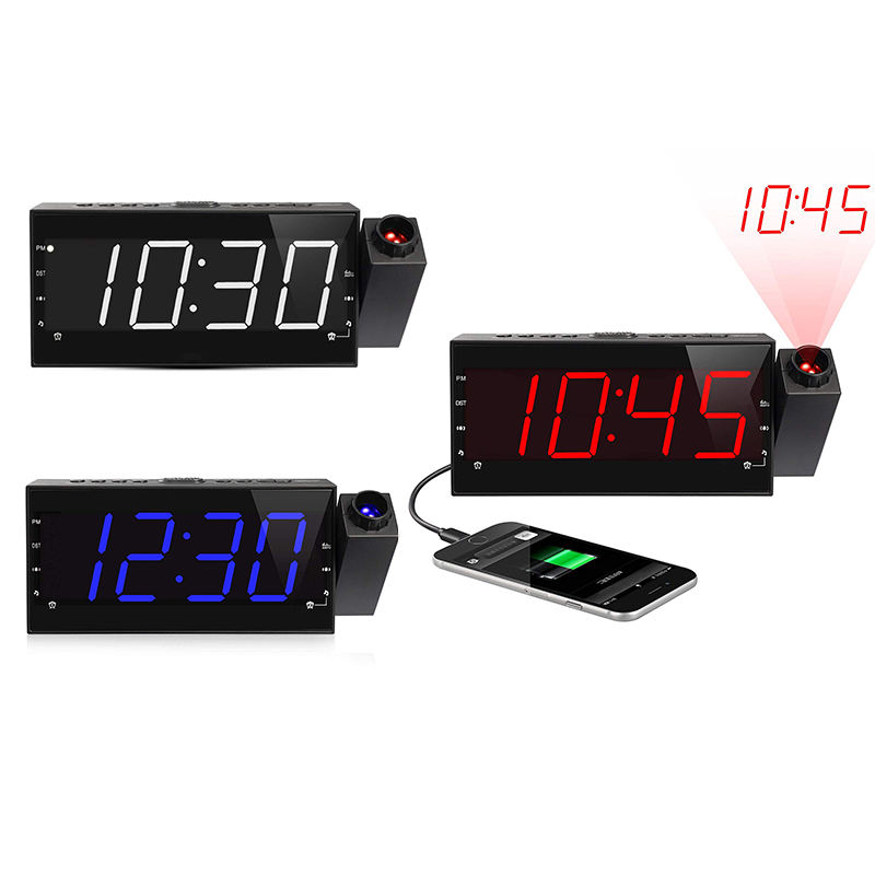 LED Light Snooze Digital AM FM Radio multifunctional usb charger mechanical alarm clock