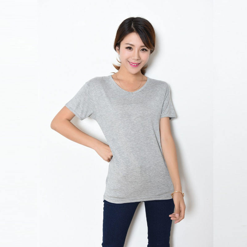 Summer Fashion Top Tee White t-shirts Woman Long Oversized Jersey Tshirt Modal Black White Grey Blank Long Radius Tee