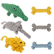 wholesale manufacturer elephant lion crocodile bone chew cotton rope dog toys