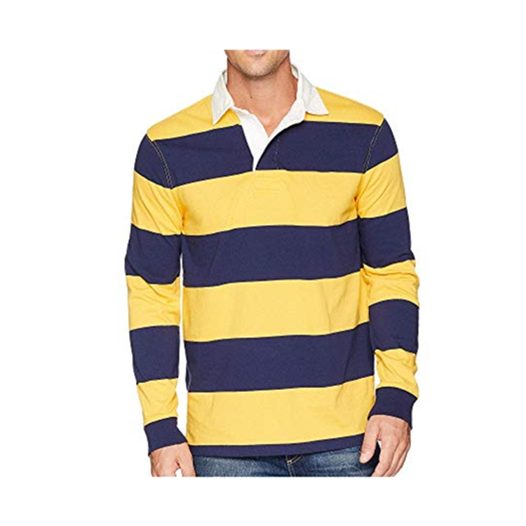 Wholesale Men's Sewn Stripe Long Sleeve Rugby Sports Polo Shirt With Logo Design