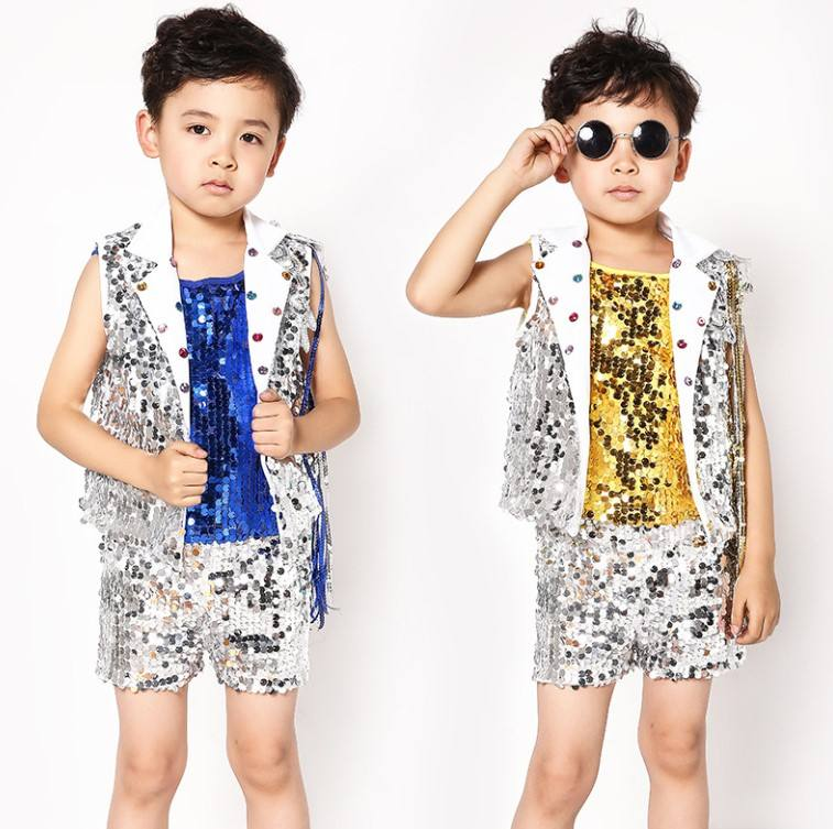 Sequin Stage Dance costumes Boys Girls Hip Hop Dancing Modern Jazz Dance Clothes