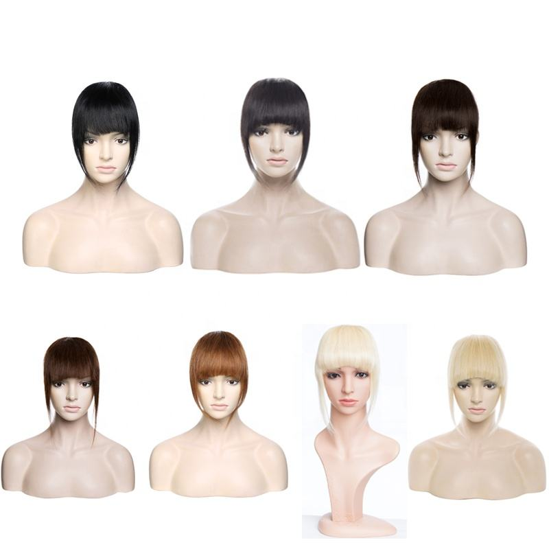 100% Human hair Fringe extension neat women hair pieces Clip in bang with different colors