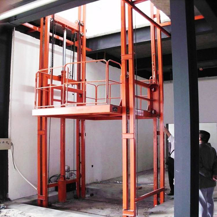Best Selling 6m Unilateral warehouse guide rail lift hydraulic vertical materials delivery lifter