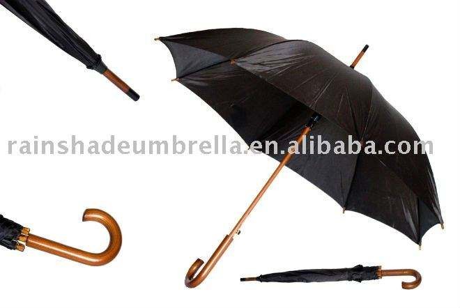 "24"" black color wooden handle and shaft rain umbrella"