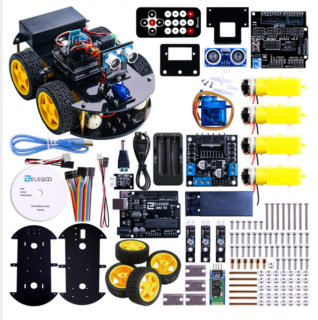 UNO Project Smart Robot Car Kit met R3 Ultrasone Sensor Bluetooth module Educatief Speelgoed Auto voor Uno (inclusief CD)