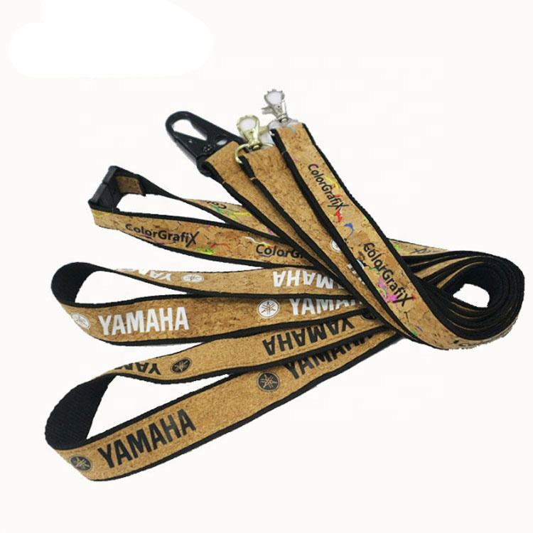 Eco-friendly high quality custom printing logo cork lanyard recycled neck strap