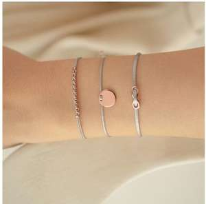 Jietao Rvs Zilver Rose Gold Circle Infinity Nooit Eindigt Charme Touw Armband