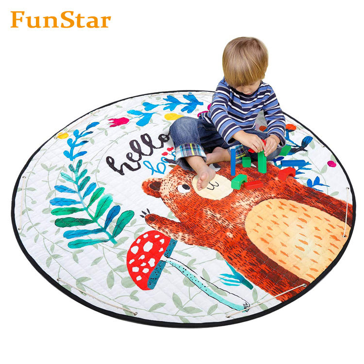 Round Kids Play Rugs Foldable Baby Carpet Playmat Play Mat with Drawstring and Storage Bag for Toddlers Playroom Bedroom