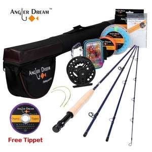 Fly Fishing Rod And Reel Combo Set 3/4 5/6 WT Rod Combo With Fly Line Fly Lures Full Kit With Bag