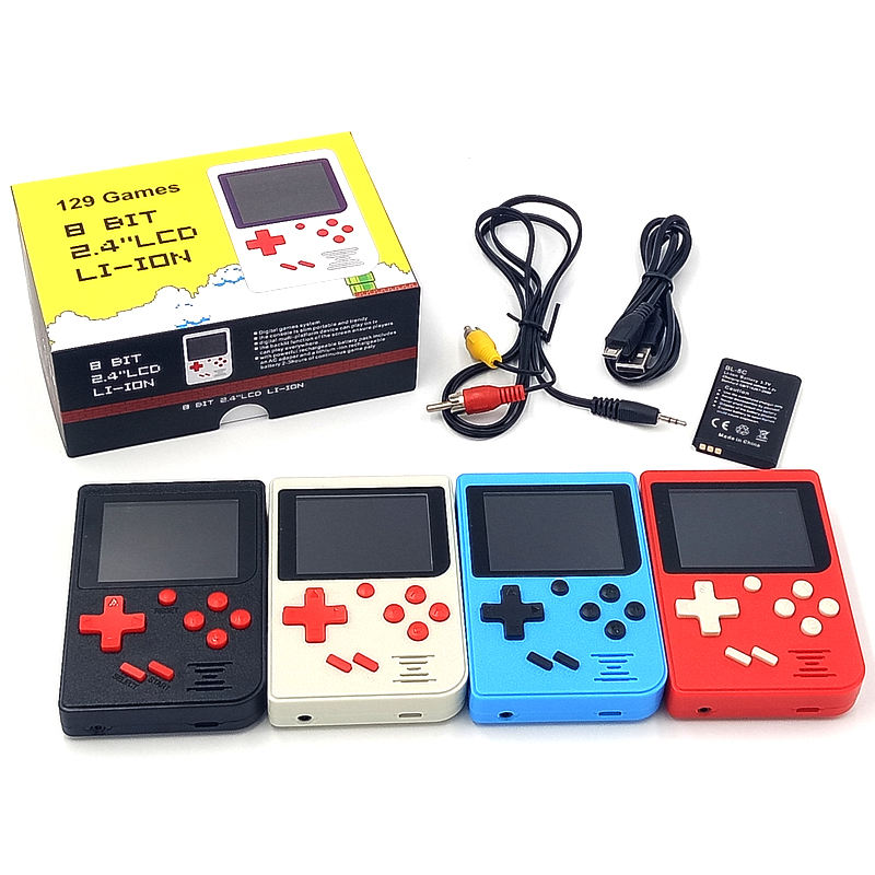 YLW Hot-Sale Mini Retro 8 Bits Bandheld Classic Game Console OEM Built-in 129 Electronic Handheld Games for Adult and Kids