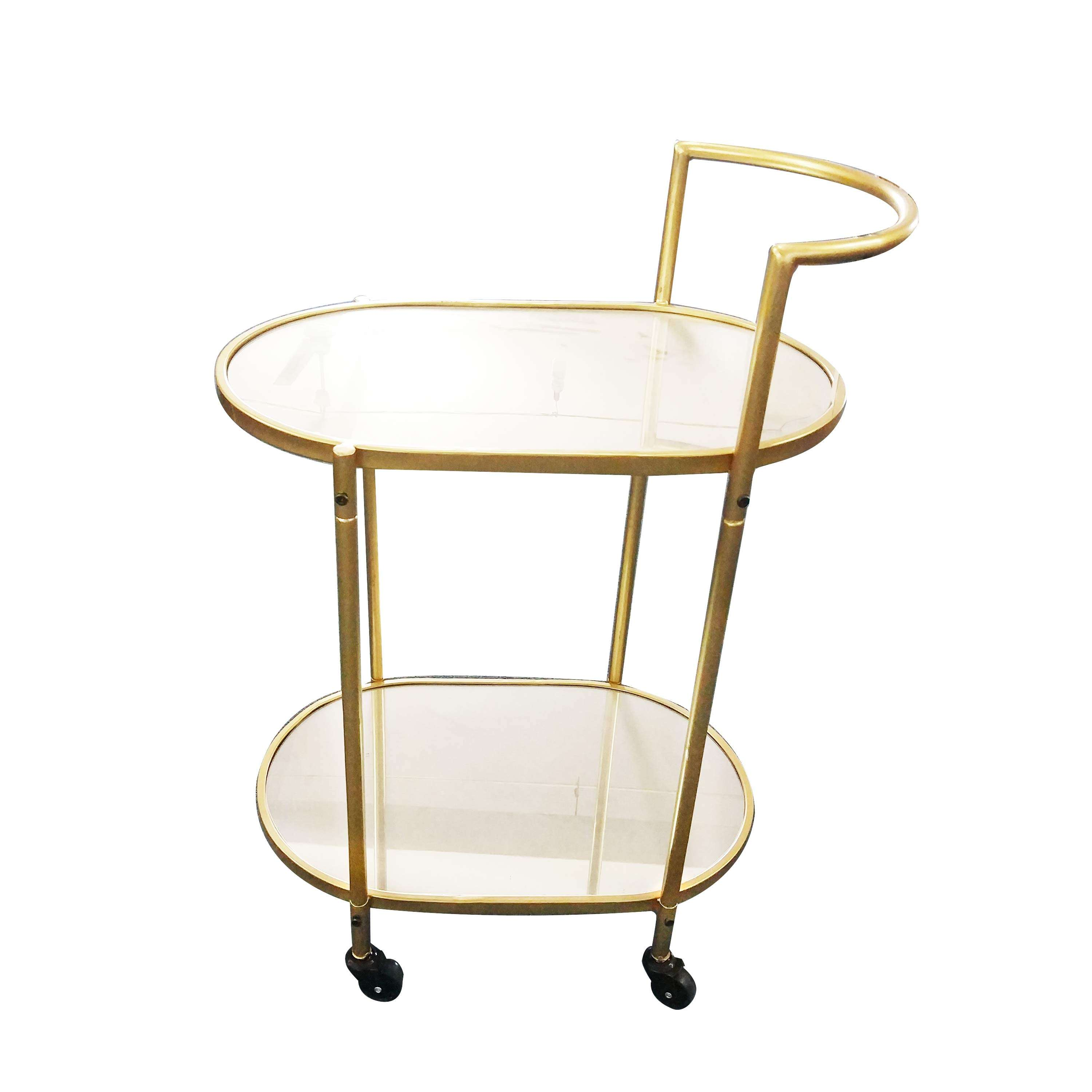 Luxurious Elegant Mirrored Top And Metal Gold Bar Cart/Serving Tea Trolley Cart With Lockable Casters