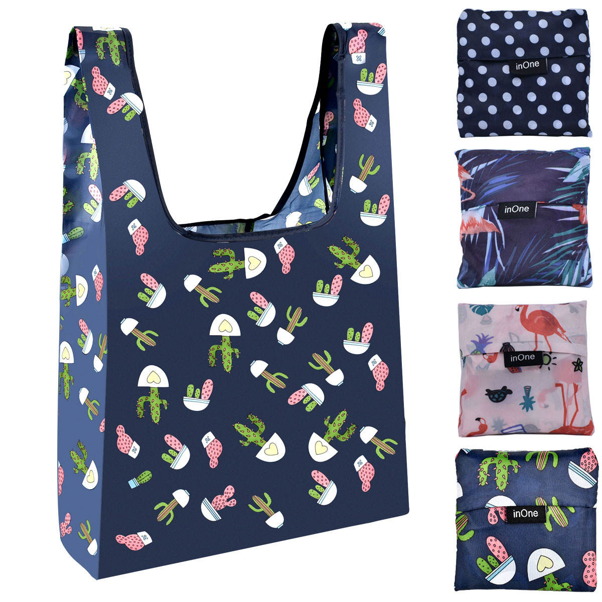 flamingo cactus polka dots customize pattern polyester portable recyclable eco grocery reusable foldable nylon shopping bag