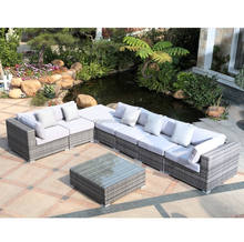 Outdoor sectional designed 7 seater patio large sofa set modern poly rattan furniture