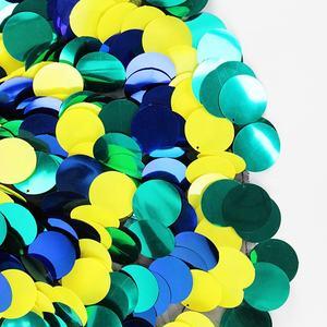 2019 Nova azul verde e amarelo fundo decorativo lantejoula tecido bordado grande oval
