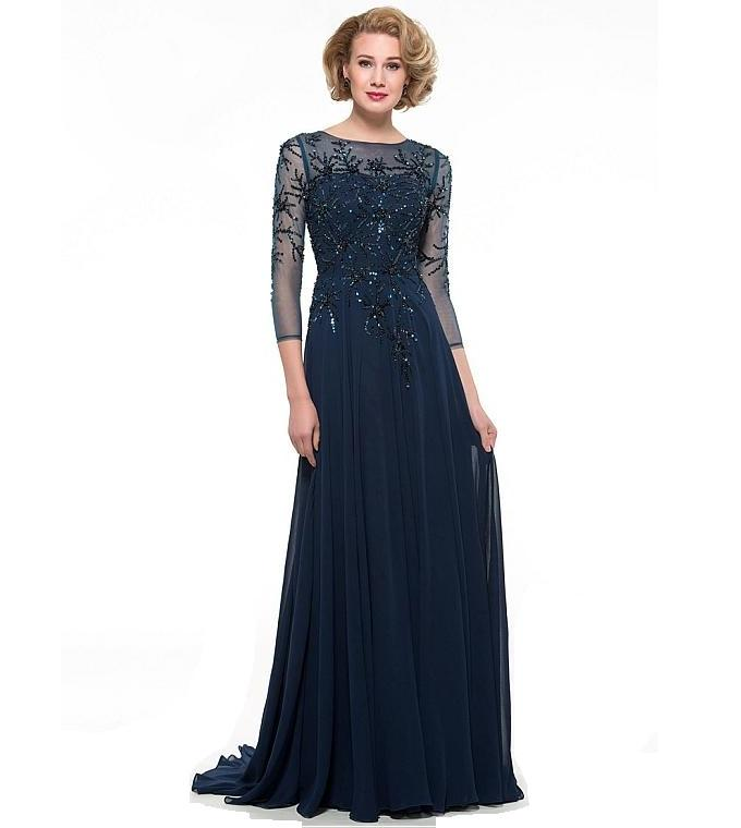 Navy Blue Chiffon Bateau Neckline A-line Mother Of The Bride Dresses Beaded Long Sleeve 2018 Mother Party Gowns