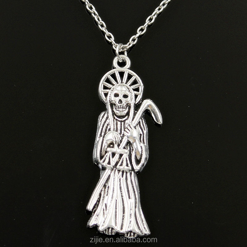 Fashion Long Chain Grim Reaper Death Necklace,Zinc Alloy Metal Tortoise Pendant Choker Charm Necklace,Unisex Gender jewelry