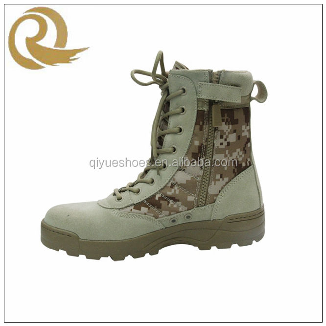 New Breathable camouflage ankle military cheap desert boots with zipper for man
