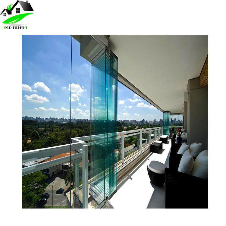 Customized design exterior frameless bifold glass folding door with hardware