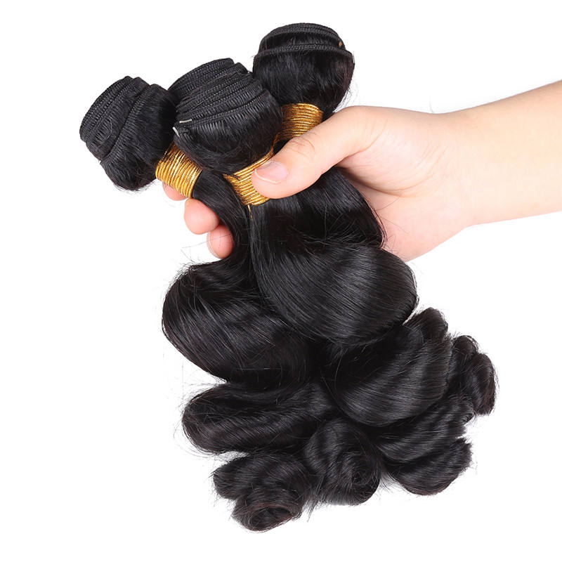 Malaysian Loose Wave Bundles Natural Black Hair Weaving 100% Human Hair Extensions
